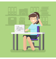 Young beautiful woman working as a call center vector image