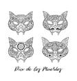 Set of cat sugar Mexican skulls vector image
