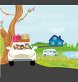 family traveling in a car vector image