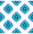 ikat geometric seamless pattern turquoise blue vector image