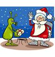 santa claus and alien cartoon vector image