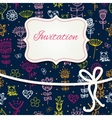 hand draw floral invitation card vector image