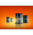 barrels of fuel on an orange background vector image vector image