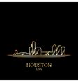 Gold silhouette of Houston on black background vector image vector image