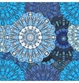 Blue colored seamless pattern with eastern floral vector image