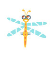 cartoon funny dragonfly colorful character vector image