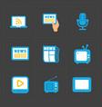 media icons set on dark background vector image