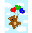 Bear with balloons flying in air vector image vector image