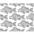 bass fish contour seamless pattern vector image