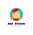 cartoon kids art studio logo vector image