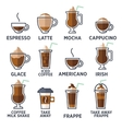 Coffee types or kinds set vector image