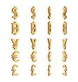 currency dimension symbols set vector image