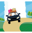 happy travel couple in car vector image