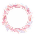 romantic feather frame vector image