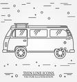 Travel bus family camper thin line Traveler truck vector image