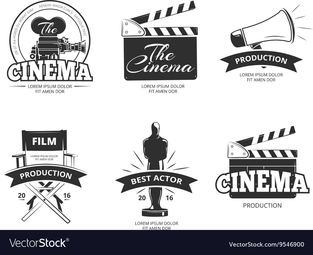 Cinema vintage labels emblems badges set vector