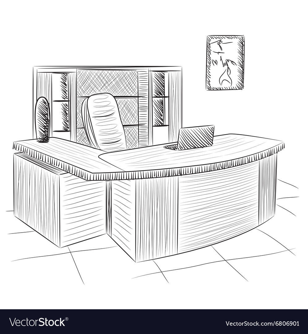 Hand drawn workplace vector