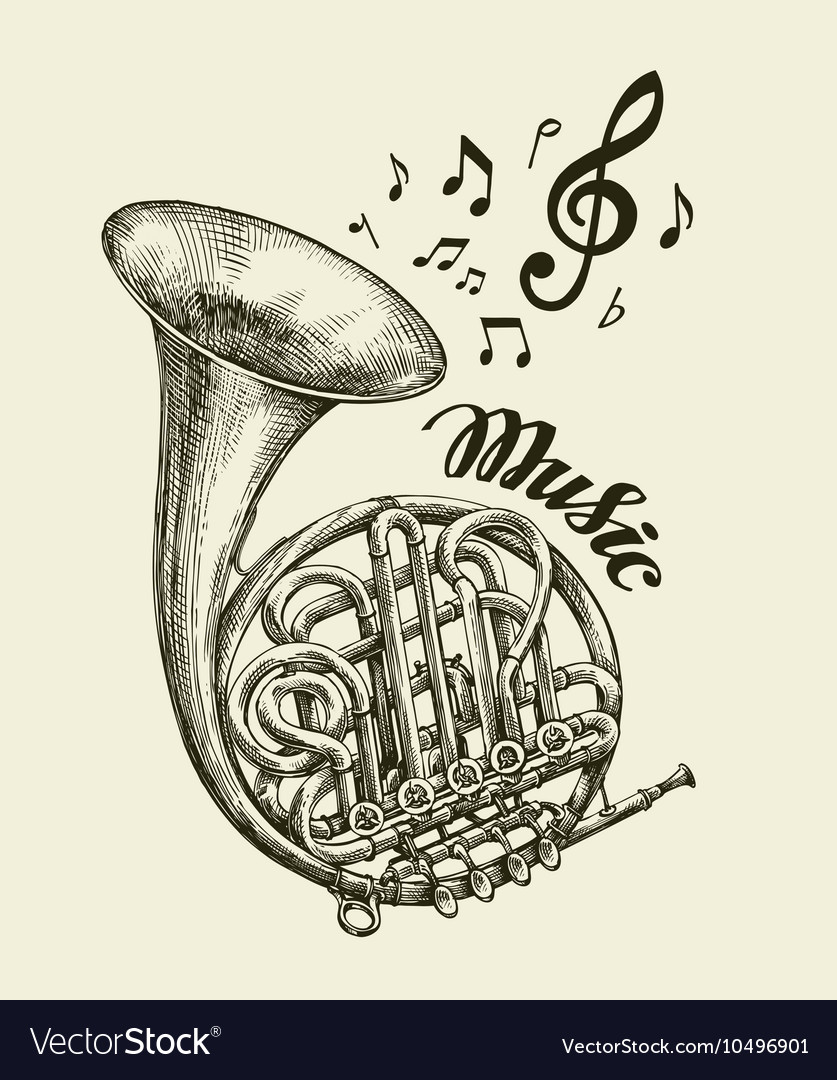 Handdrawn musical french horn sketch vintage vector
