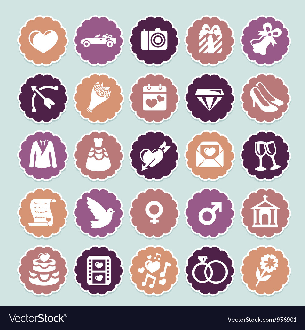 Retro wedding collection vector