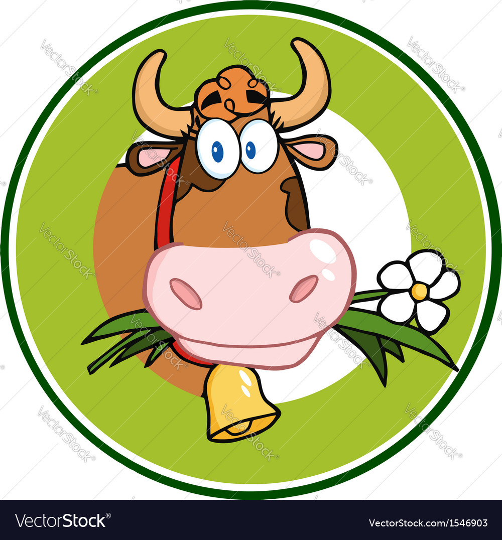 Cow with flowers and bell vector