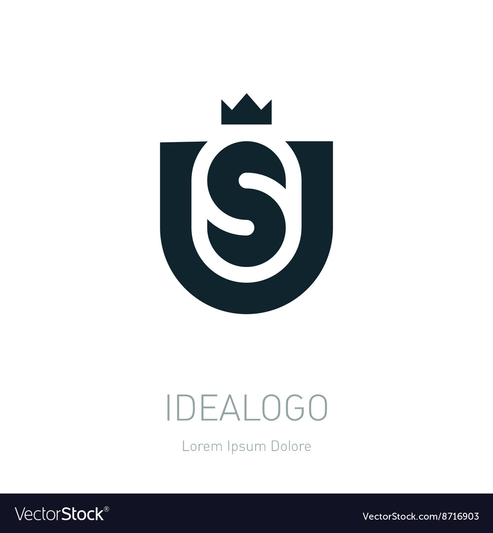 Us initial logo with crown us initial monogram vector