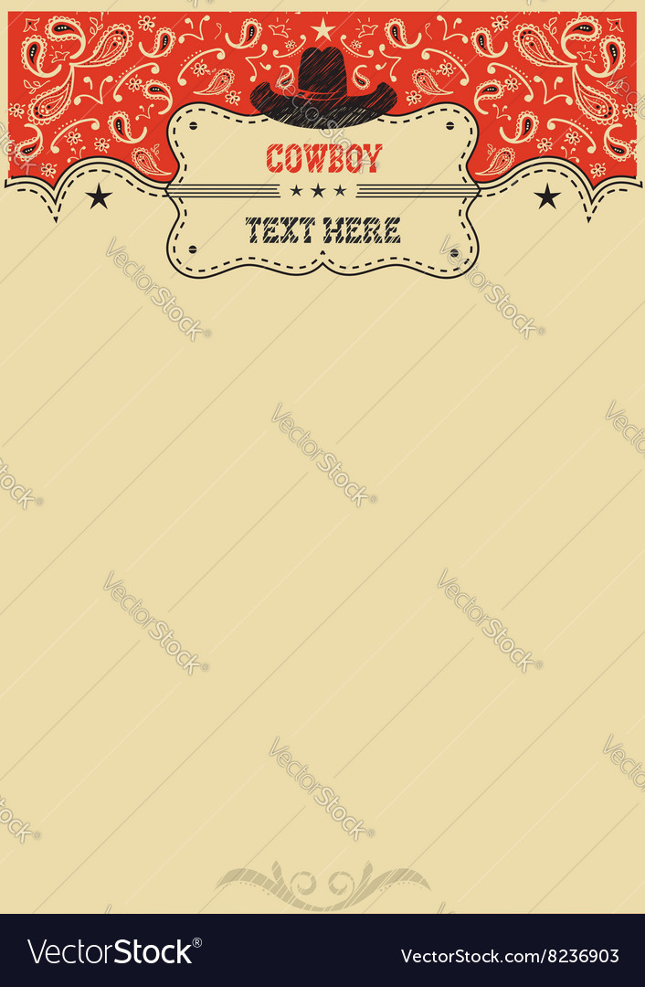 Western background with cowboy hat and board for vector