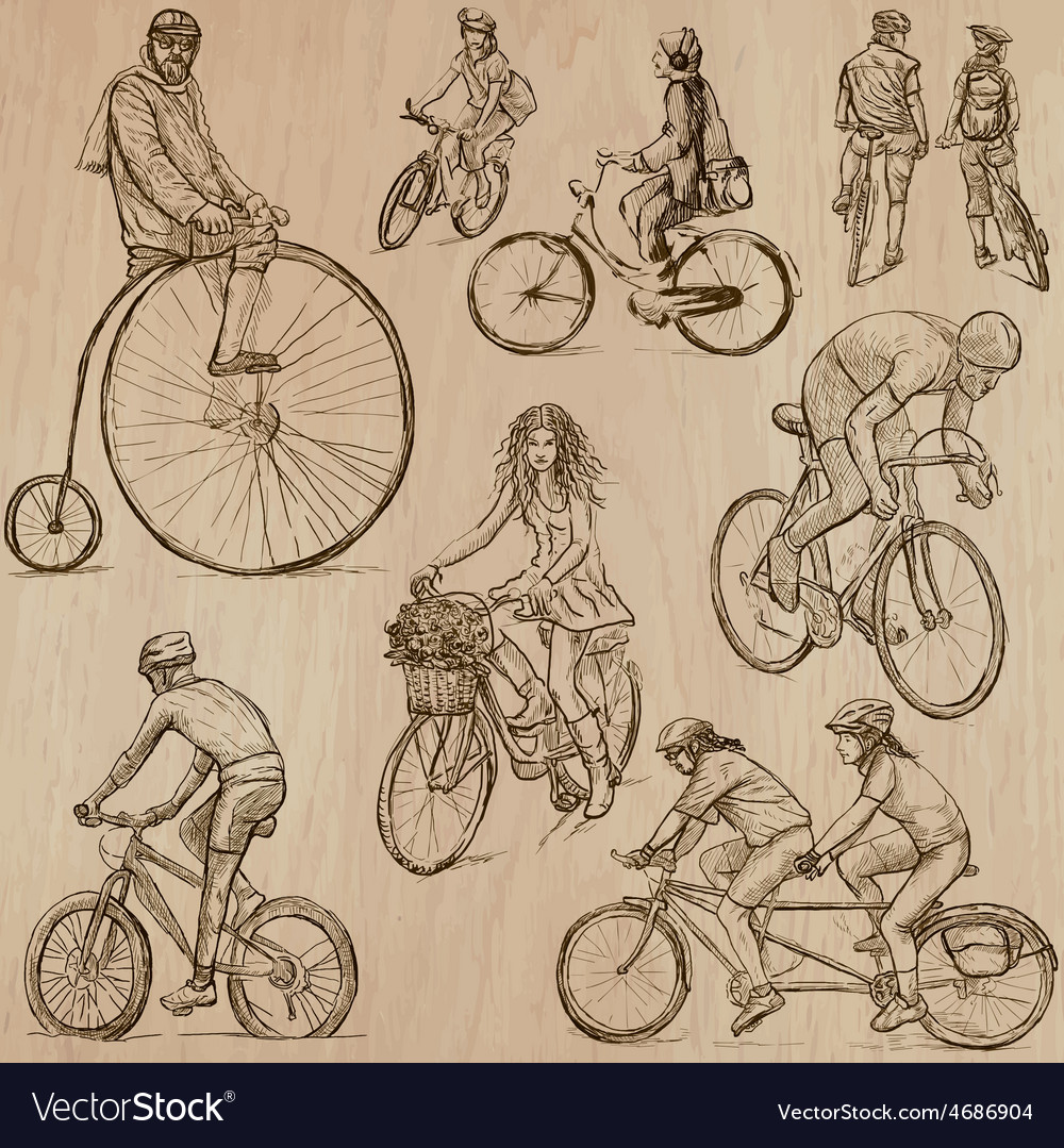 Cycling  an hand drawn pack vector