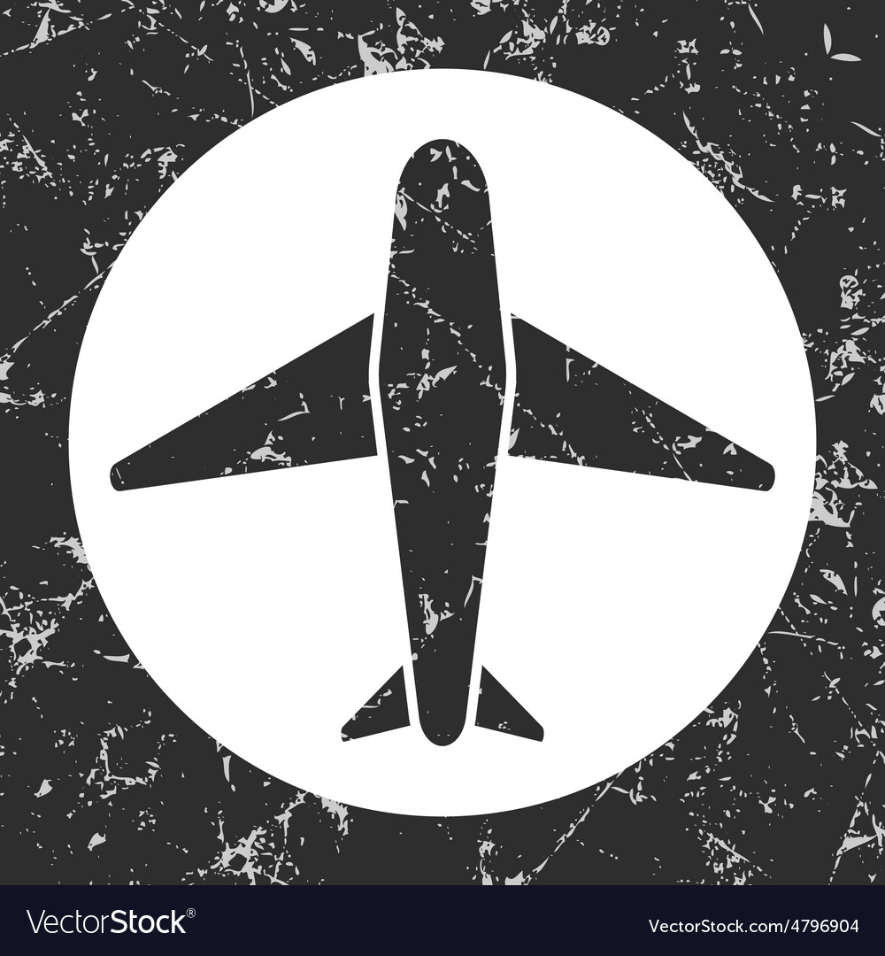 Grunge gray circle icon  airplane vector