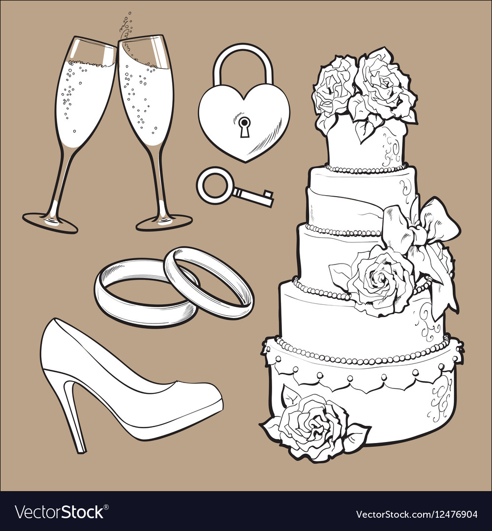 Wedding icons  cake rings glasses of champagne vector