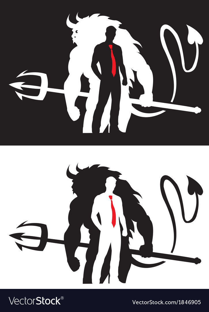 Devil and man vector