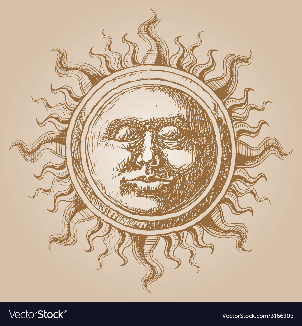 Oldfashioned sun decoration vector