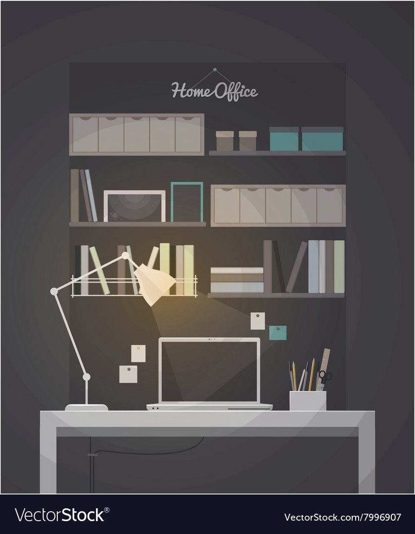 Flat home office interior with vector