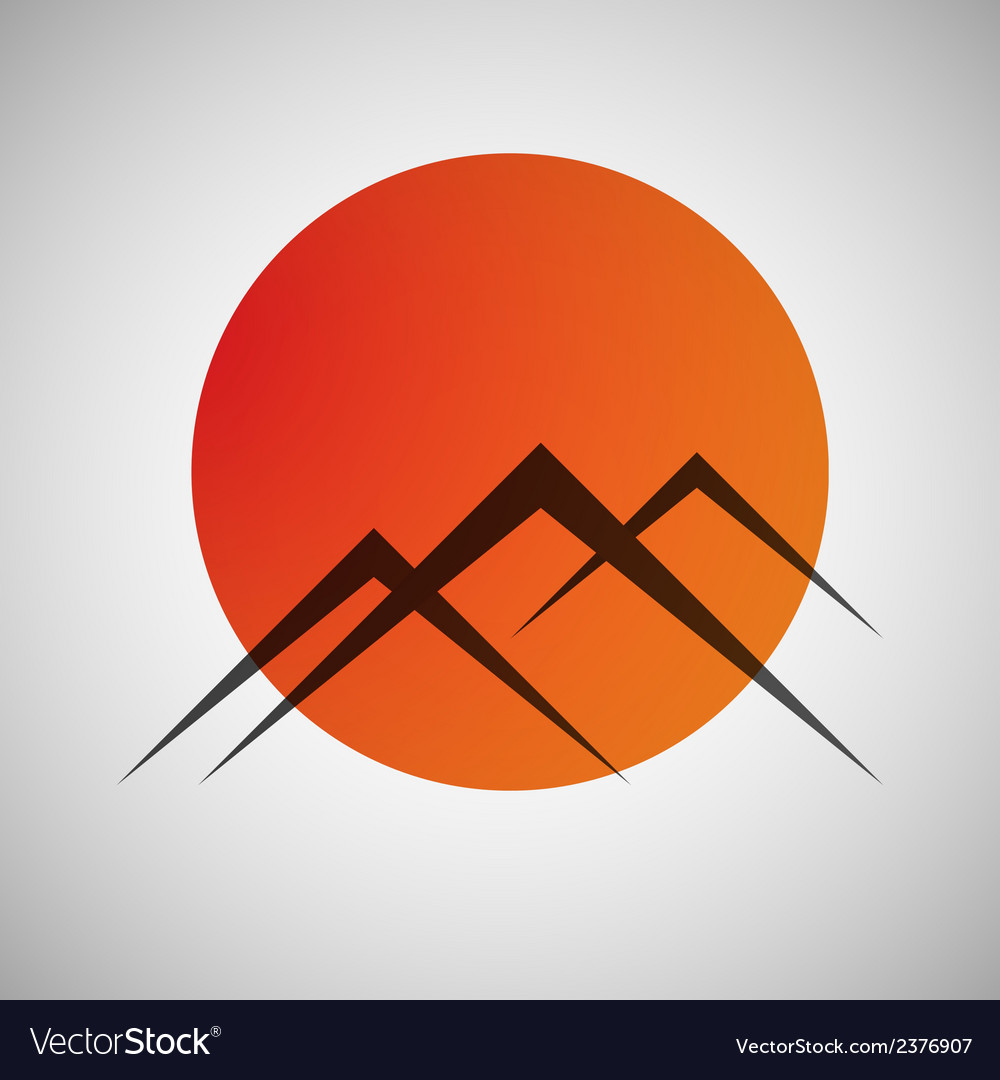Mountains and sun icon vector
