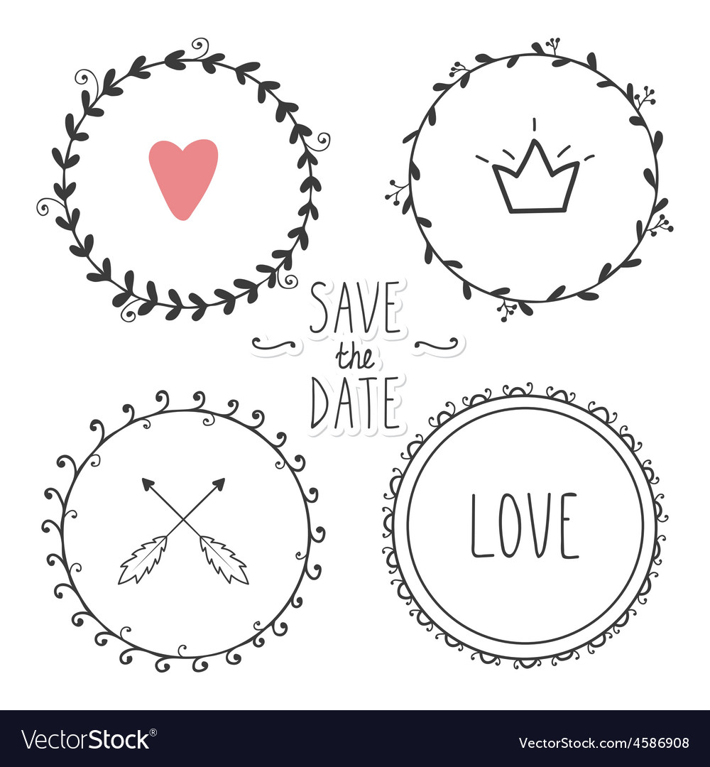 Romantic set of hand drawn wreaths vector