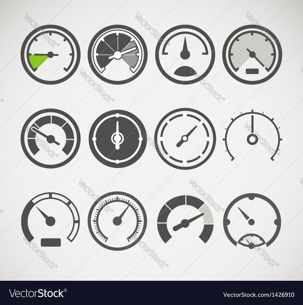 Different slyles of speedometers collection vector