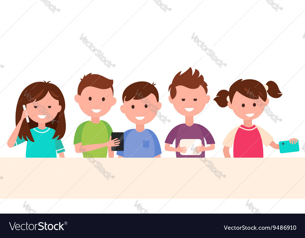 Kids using their gadgets children and technology vector