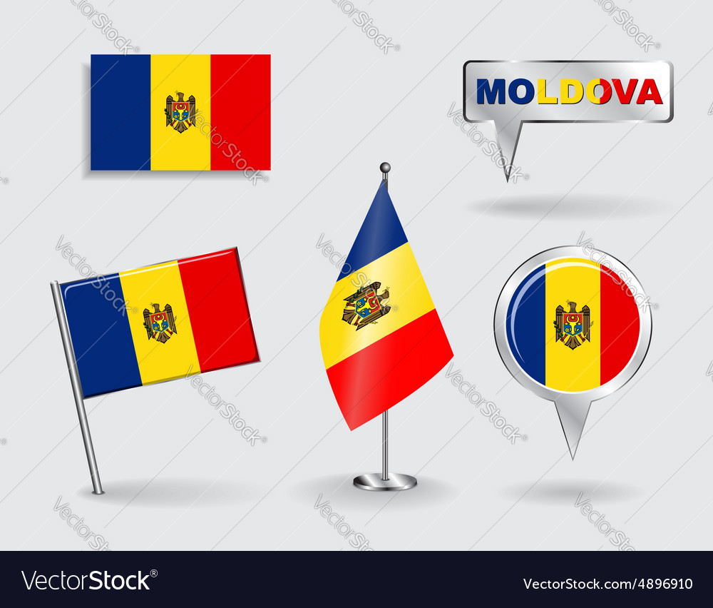 Set of moldovan pin icon and map pointer flags vector