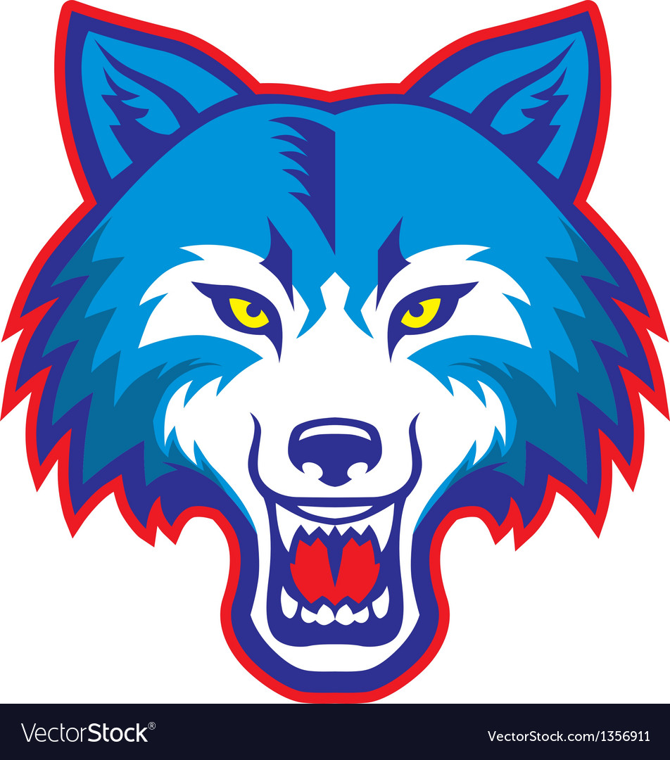 Angry wolf head mascot vector