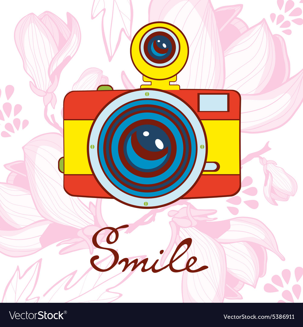 Smile concept card elegant vintage camera on vector