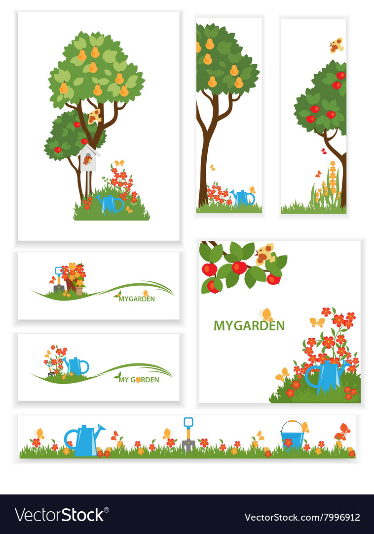 Apple trees and flowers in the garden vector