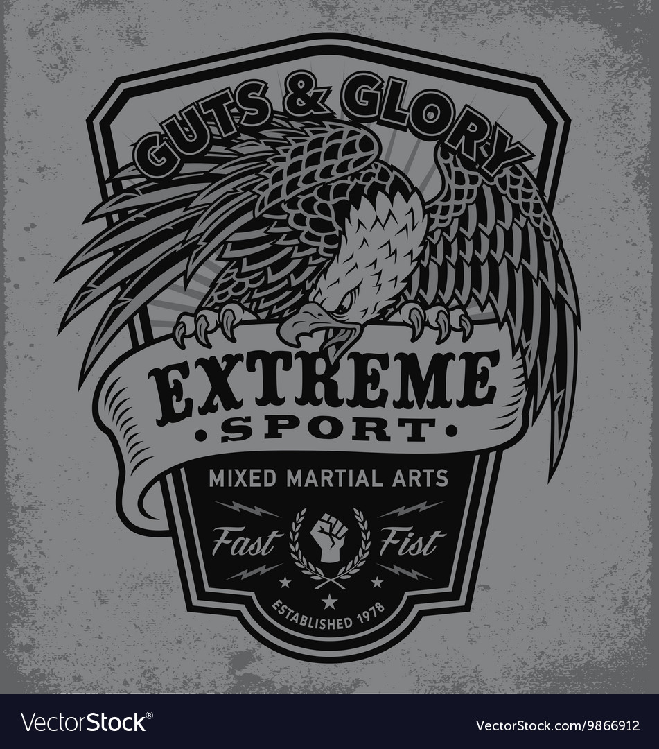 Extreme sport eagle crest shield tshirt graphic vector