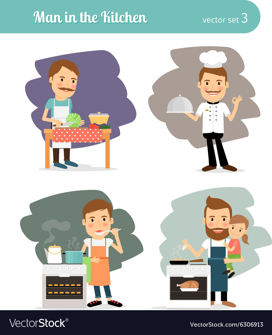 Man cooking in kitchen vector