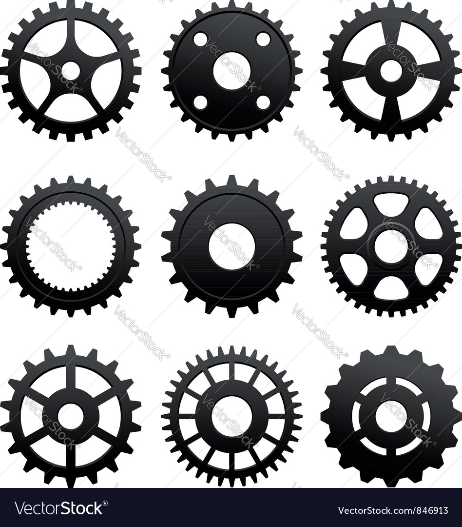 Pinions and gears set vector