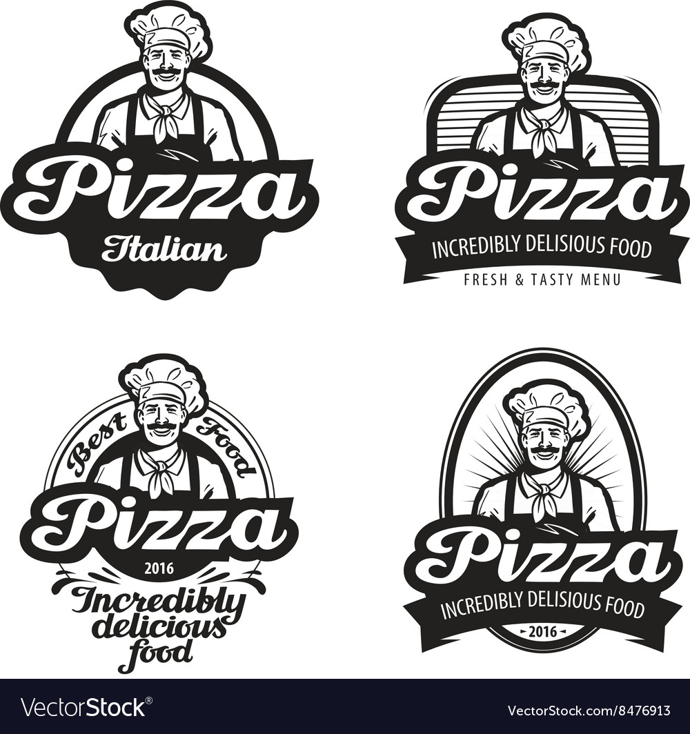 Pizza logo cafe food pizzeria vector