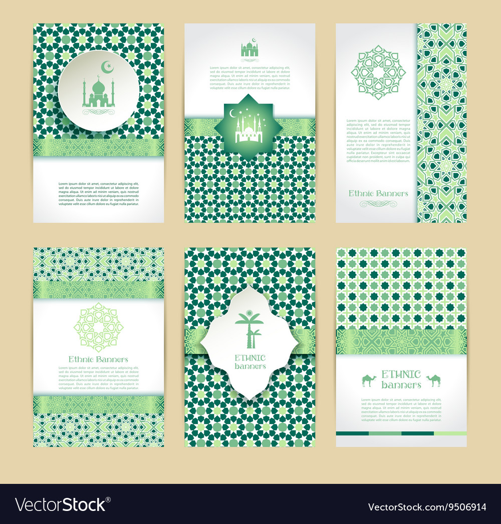 Banners set of islamic green color design vector