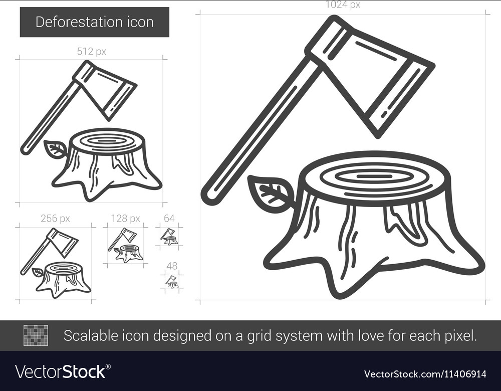 Deforestation line icon vector