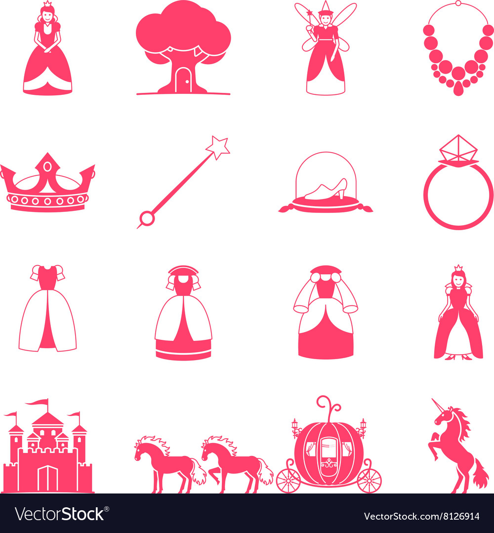 Princess fairytale icon set vector