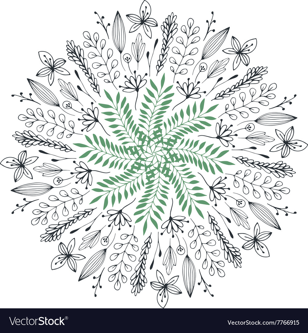 Hand drawn floral abstract circle vector