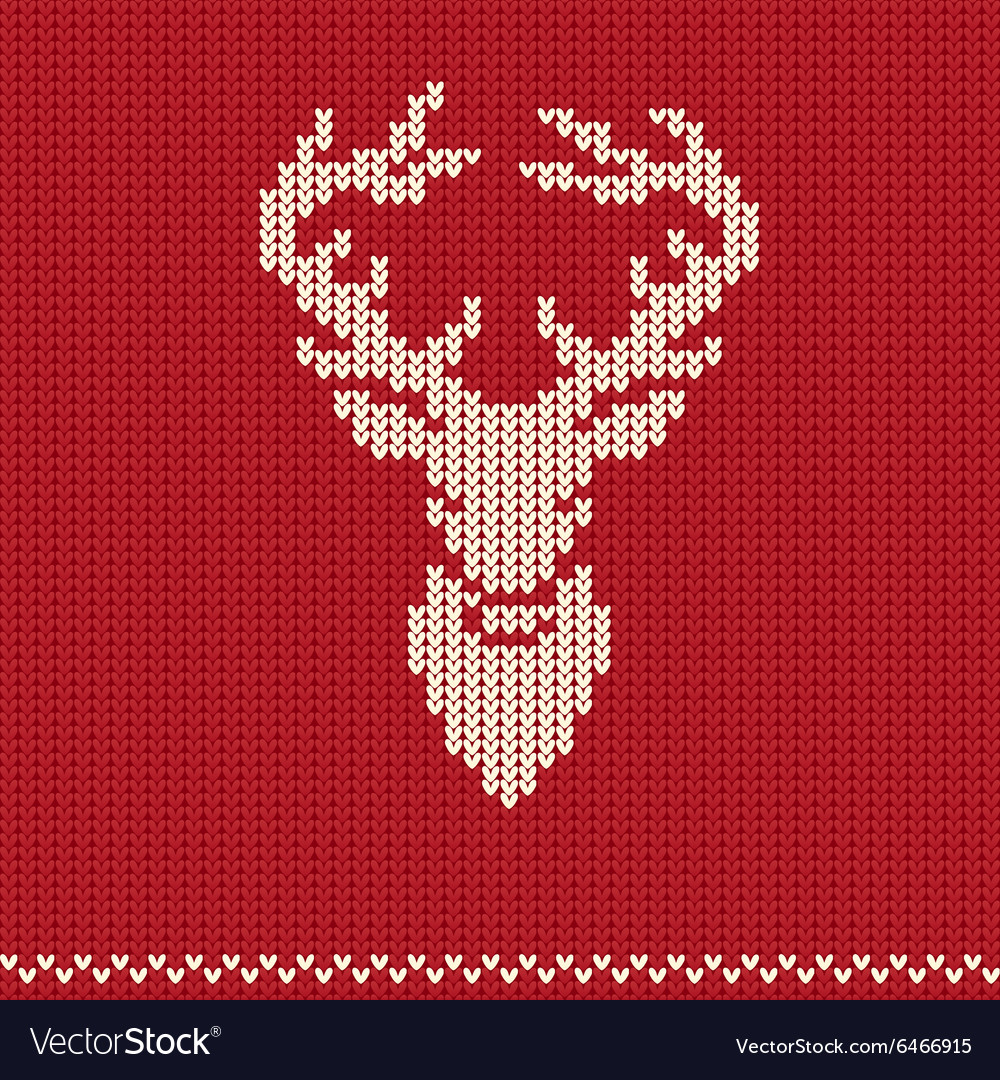Knitted pattern with deer vector