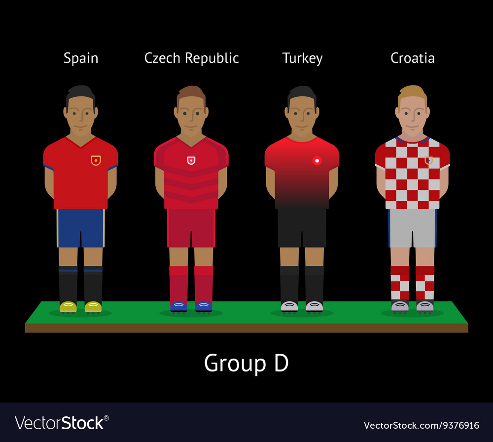 Football players soccer teams spain czech vector